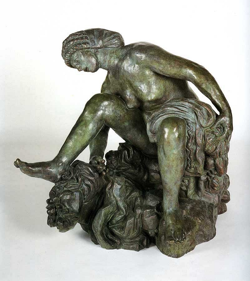 Antoine Bourdelle ,   Large Crouching Bather (Grande baigneuse accroupie)  ,  1906-1907     Bronze ,  40 x 30 1/4 x 45 4/4 in. (101.6 x 76.8 x 116.8 cm)     Seated nude, green patina     BOU-001-SC