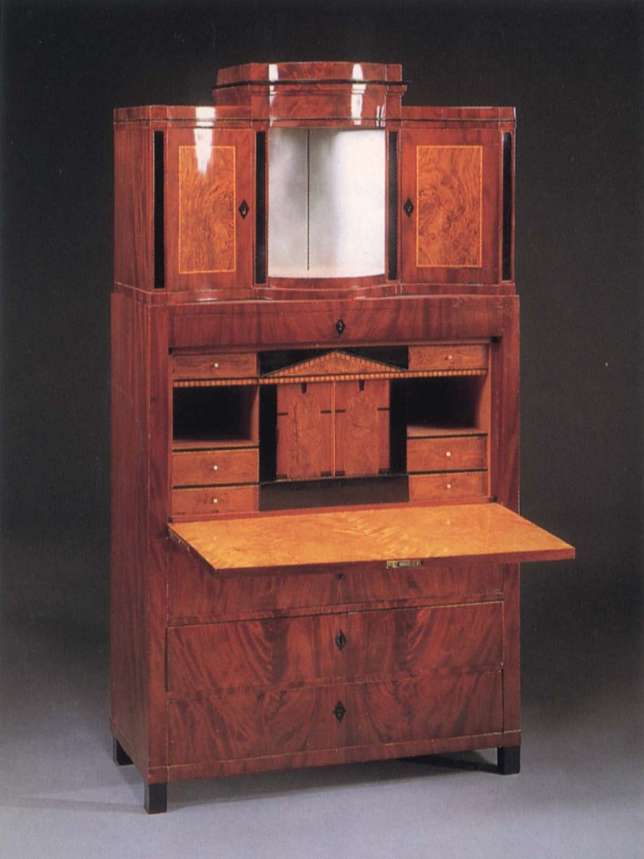 19th Century AUSTRIAN, Biedermeier Mahogany, Fruitwood and Burl Walnut Fall-Front Secrétaire 1820-1825, Mixed woods