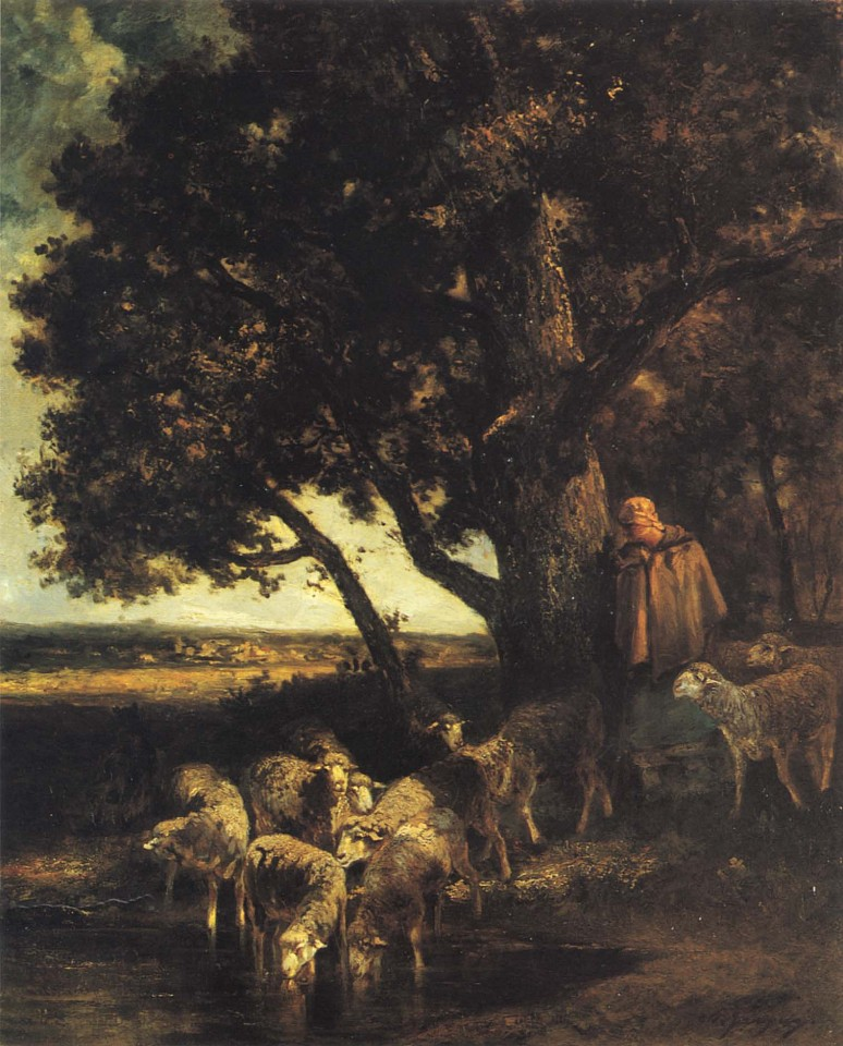 Charles Emile Jacque ,   A Shepherdess and her Flock by a Pool  ,  1870-73     Oil on canvas ,  32 x 26 in. (81.3 x 66 cm)     JAC-004-PA