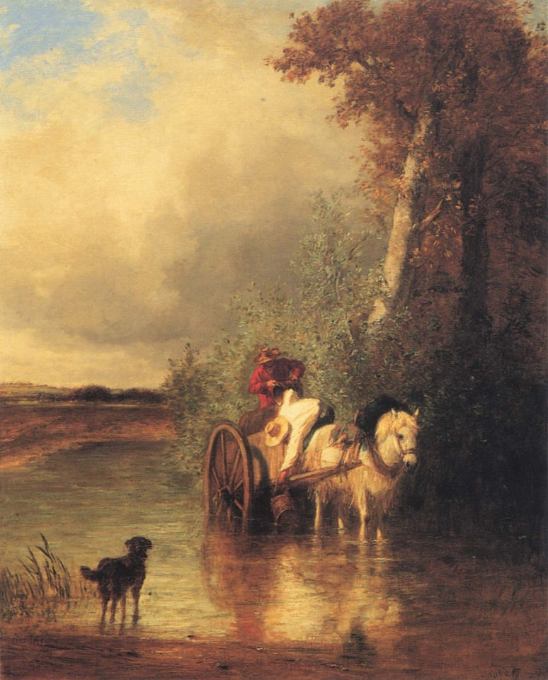 Constant Troyon ,   Field Workers Near a Stream  ,  ca. 1849     Oil on canvas ,  31 3/4 x 25 3/4 in. (80.6 x 65.4 cm)     TRO-001-PA