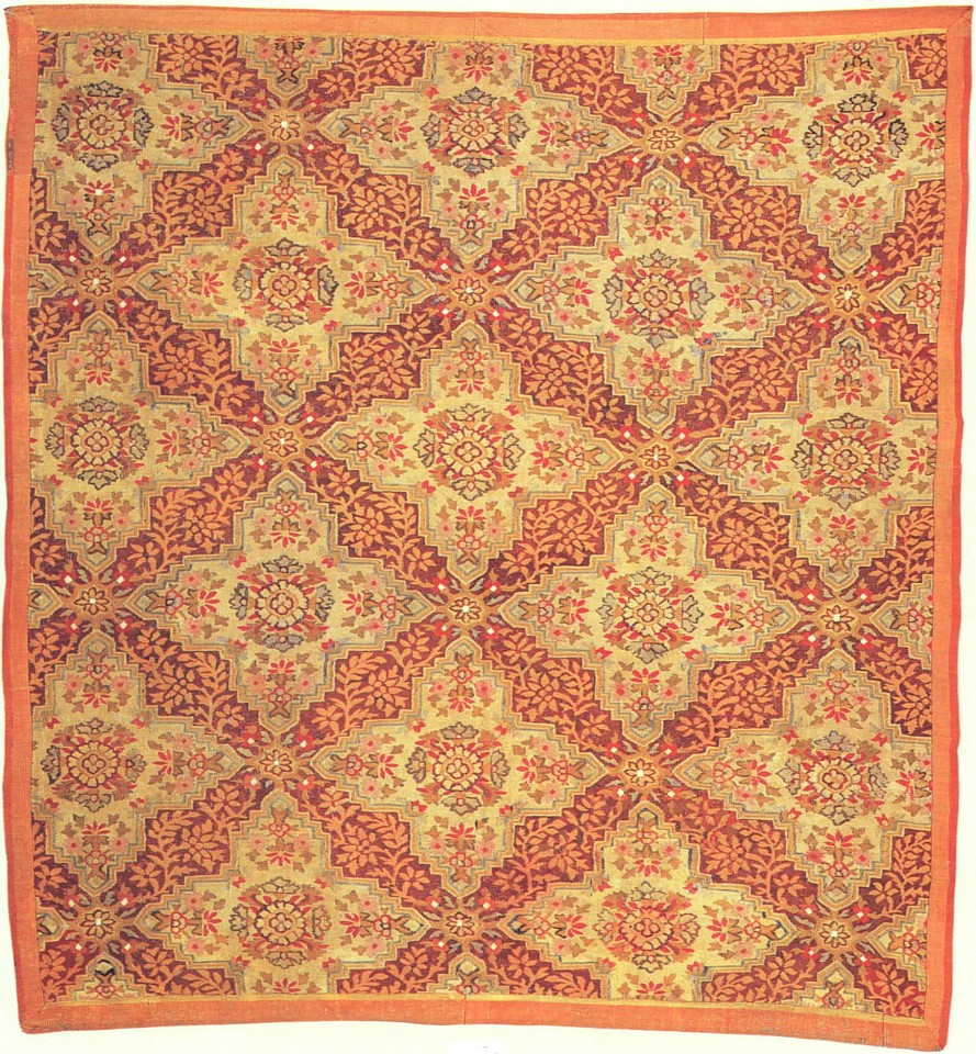19th Century FRENCH ,   Louis-Phillipe Aubusson Fragmentary Rug  ,  mid. 19th Century     Wool ,  98 x 87 inches     FRE-004